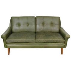 Mid-Century Modern Green Leather Loveseat by Skippers Mobler
