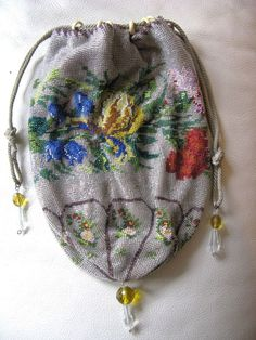 Antique Grey & Floral Crochet Micro Bead Amber Crystal Drawstring Reticule Purse #Drawstring