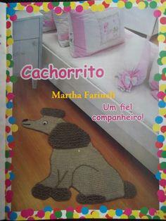 Martha Farineli Arte em Barbante: Tapete de crochê em barbante Cachorro com gráfico