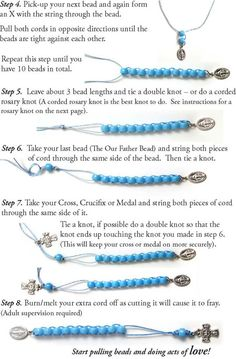 How to Make Sacrifice Beads With all due respect to those of the Catholic faith…I think this would also be a great way to make a row counter bracelet. I really do pray while I knit, so it's kind of the same thing! Rosary Bracelet, Rosary Beads, Prayer Beads, Beaded Bracelets, Catholic Crafts, Catholic Kids, Première Communion, Little Flowers, Diy Schmuck
