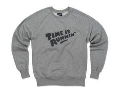 Hektik Streetwear X Flying Förtress | Time is runnin' Sweatshirt | warm & cosy | heather grey - dark grey application embroidery #hektik #cloud #hoodie #streetwear #fashion #urban #streetart #flyingfortress #graffiti #embroidery #menswear #sweatshirt