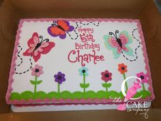 Butterfly and flower cake Birthday Cakes, Happy Birthday, Bakery Cakes, Cake Ideas, Butterfly, Party, Flowers, Desserts, Room