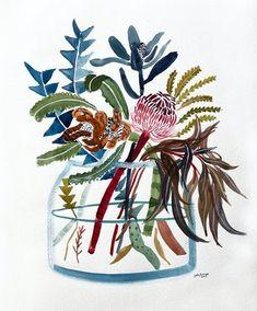 Art And Illustration, Botanical Illustration, Protea Art, Australian Native Flowers, Botanical Wall Art, Texture Art, Whimsical Art, Beautiful Artwork, Watercolor Flowers