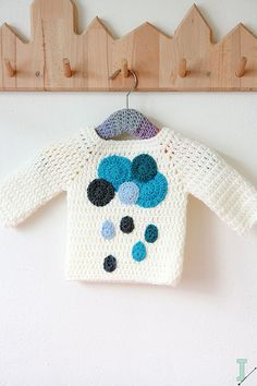 Crochet baby sweater clouds and raindrops PATTERN - Pullover Knitting For Kids, Crochet For Kids, Baby Knitting, Crochet Baby Sweaters, Crochet Baby Clothes, Pullover Windbreaker, Baby Patterns, Crochet Patterns, Embroidery