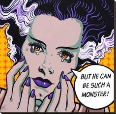 Such A Monster by Mike Bell Bride Frankenstein Tattoo Canvas Giclee Art Print famous saying Frankenstein Tattoo, Bride Of Frankenstein, Pop Art, Stretched Canvas Prints, Canvas Art Prints, Steam Punk, Mike Bell, Gravure Illustration, Festivals