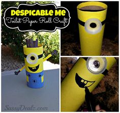 DIY: Cute Despicable Me Minion Toilet Paper Roll Craft For Kids #Recycled TP Tube art project | CraftyMorning.com