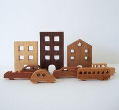 City Toy Set Waldorf Wooden Miniature 9 Pieces Buildings Cars. $55.00, via Etsy.