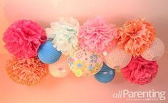DIY pom pom chandelier <-- TOO CUTE! Want to do this for Emma's bedroom