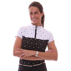 Birdee Sport of Australia Women's Spots Capsleeve Golf Polo- White    #birdeesport #golfpolos #shortsleevegolfpolos #patterns #ladiesgolfapparel #ladiesgolfshirts #golftops #shortsleevepolos