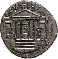 Sesterzio - bronzo - Roma (36-37 d.C. Tiberio) - tempio di Concordia con fronte esastilo e le statue di Mercurio (sn) e Apollo (dx) e sul frontone la triade Capitolina, Cerere e Marte - Münzkabinett Berlin