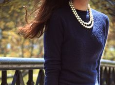 pearls and navy blue