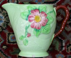 Carlton Ware wild rose design green jug by PlanetkindHome, Vintage China, Retro Vintage, English Pottery, Carlton Ware, Antique Perfume Bottles, Stoke On Trent, Rose Design, Cottage Style, Flower Patterns