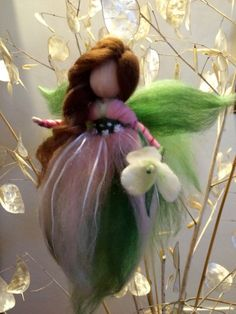 """Needle Felted Wool fairy  Waldorf inspired  Pink Angel Flower fairy """"Snowdrop"""" Home decor Mobile Art doll"""