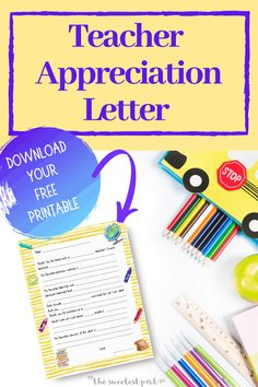 Looking for a thoughtful way to let your child's teacher know how much you both appreciate them? Have your child write a thank you letter for their teacher! Teacher Thank You Letter, Teacher Appreciation Letter, Printable Letters, Gift Tags Printable, Teacher Christmas Gifts, Teacher Gifts, Kids Writing, Your Teacher, Gifts For Kids