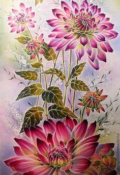 """шарф """" Георгины - 2"""" - шарф,шелк натуральный,цветы,георгины,шелк крепдешин натуральный"""