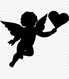 Engel Silhouette, Silhouette Clip Art, Valentine Decorations, Valentine Crafts, Valentines, Butterfly Black And White, Cherub Tattoo, Valentine Poster, Alien Drawings
