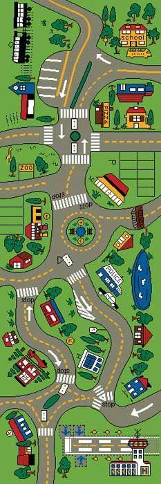 Carro esteira do jogo Estrada gigante Jogar Tapete de Para Crianças - / Car Play Mat - Giant Road Play Rug For Kids -