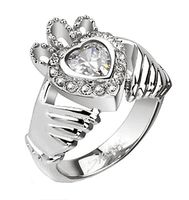 Wedding & Anniversary Bands Stainless Steel Claddagh Crown Heart With Multi Cz Cast Ring Anniversary Bands, Wedding Anniversary, Cubic Zirconia Rings, Stainless Steel Rings, Claddagh, Brilliant Earth, Bracelets, Jewelry Watches, It Cast