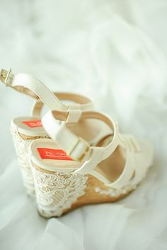 Wedding Wedges! Dress up your pair with pretty lace. | From Marinelle & Ray-an's wedding, as featured on www.bridalbook.ph