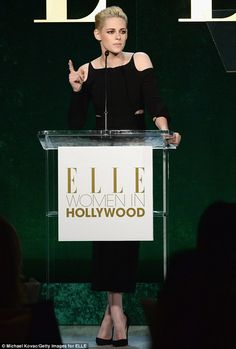 Kristen's Twilight and The Runaways co-star Dakota introduced her onstage, where she gushe...