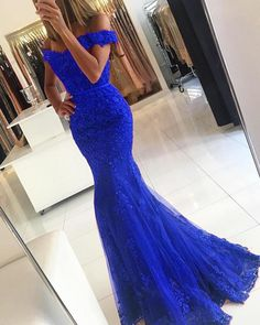 Cotillion Dresses, Fitted Prom Dresses, Prom Girl Dresses, Lace Evening Dresses, Lace Dresses, Blue Mermaid Prom Dress, Mermaid Dresses, Mermaid Style, Lace Mermaid