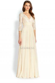 A-Line/Princess V-neck Floor-length Lace Chiffon Evening Dress