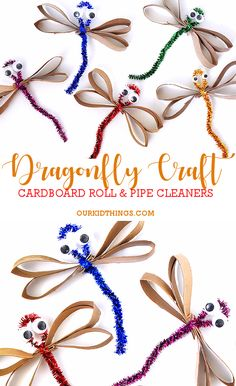 Cardboard Roll Shiny Pipe Cleaner Dragonflies Craft #summer #craft #dragonfly #bugs #pipecleaners #cardboardrollcraft #kidscraft #craft