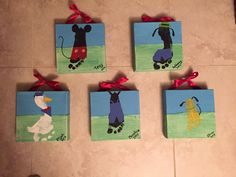 Mickey Mouse Clubhouse Footprint Canvases we made for a gift for my Disney loving mother in law!