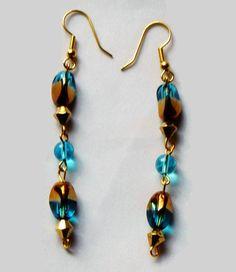 Blue -Gold Glass Bead Earrings,Blue Earrings, Gold Earrings, Chain Earrings, Small Bead Earrings, Gift Ideas, Dangle Earrings, Long earrings by SunMoonJewels on Etsy