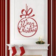 Holiday Vinyl Wall Lettering Merry Christmas Ornament Bow Decal Quotes Decoration