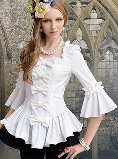 İspanyol kollu fiyonklu bayan volanlı gömlek modeli