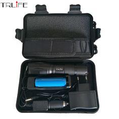 8000 Lumens Flashlight cree XML L2 Torch High Power Adjustable Led Flashlight +DC/Car Charger+1*18650 Battery+Holster Holder