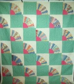 Superb Antique Grandmother's Fan Quilt 70x93 Generous Amount of Quilting Designs | eBay