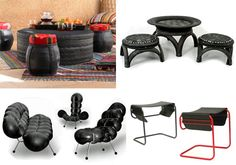 Used Tires: Recycled Tire Rubber Art and Design By Marc in Environment & Nature Tires are boring. Except for the occasional horror experienced when one bursts or hits a nail, they're simply an … Tire Furniture, Diy Garden Furniture, Reuse Old Tires, Recycled Tires, Recycled Rubber, Chicken Wire Art, Tire Craft, Eco Design, Design Creation