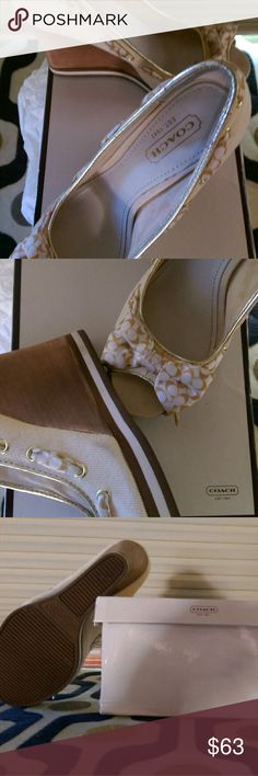 COACH shoes Tan canvas wedge with white and tan bow and ribbon lace Coach Shoes Wedges