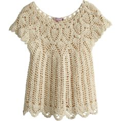 CALYPSO St. Barth Tafara Hand Crocheted Sweater (305 NZD) ❤ liked on Polyvore featuring tops, sweaters, shirts, natural, brown shirt, shirt tops, scallop top, cotton sweaters and crochet sweater