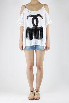 KOREA--下流蘇露肩袖香奈兒畫漆上衣