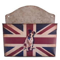 Vintage Union Jack Flag Metal Organiser Featuring Jack Russell Design £5.99
