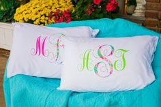 Lilly Pulitzer Inspired Monogrammed Personalized  Pillow Case Bridesmaid…