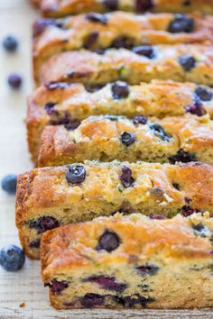 Blueberry Zucchini Bread - Juicy BLUEBERRIES in every bite of this soft, easy, no mixer bread!! If you have picky eaters who don't like zucchini, don't worry because you can't taste it! It keeps the bread tender and HEALTHIER!!