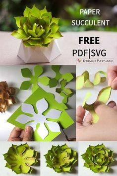 We Share Ideas | DIY: Suculenta de Papel Paper Succulents, Paper Plants, Paper Flowers Diy, Flower Crafts, How To Make Paper Flowers, Origami Flowers, Origami Paper, Origami Boxes, Dollar Origami