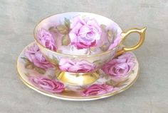 VINTAGE AYNSLEY CHINA TEA CUP SAUCER ENGLAND LARGE PINK CABBAGE ROSE GOLD N MINT #AYNSLEY