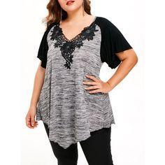 Flower Lace Plus Size Short Sleeve T-shirt - Light Gray 4x Mobile