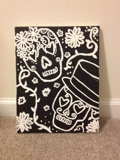 sugar skull paintings canvas - Google Search