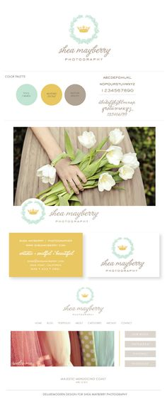 Deluxemodern Design for Shea Mayberry Photography // 2013 - Love this laurel wreath idea... colors and script feel right too.