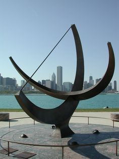 Henry Moore Sundial sculpture facing northwest.