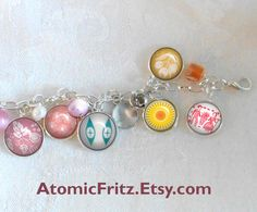 detail of pyrex charm bracelet, no pyrex was harmed in the making of this bracelet!