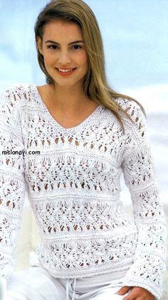 Белый ажурный пуловер с плетеным узором | Ms Lana Vi