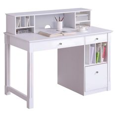 Add a sleek look to your home office with this solid wood desk and hutch. The three drawers and multiple storage compartments are perfect for storing paperwork, files and office supplies. Featuring a white painted finish, this desk will complement most room décor.