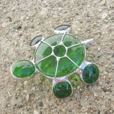 Tiny Green Stained Glass Turtle -3D..